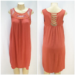 Embroidered Neckline Tank Dress, size tag says Med